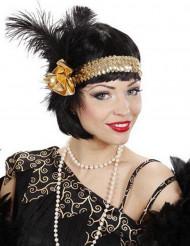 20er Charleston Stirnband mit Feder und Rose gold-schwarz