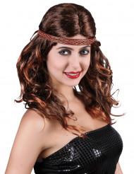 Indianerin Perücke mit Stirnband braun