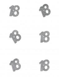 Tischdeko Geburtstag 18 Jahre Konfetti 6 Stück Glitzer silber 4,5x5cm