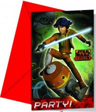 Star Wars Rebels™-Einladungskarten mit Umschlägen 6 Stück rot-bunt