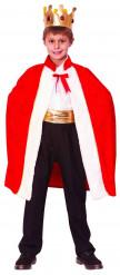 Königskostüm Accessoire-Set Umhang und Krone für Kinder rot-weiss-gold