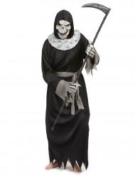 Gevatter Tod Halloween Herrenkostüm Skelett schwarz-beige-grau