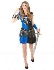 Sexy Ritterin Damenkostüm blau-silber-schwarz