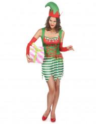Elfen-Damenkostüm Weihnachten weiss-rot-grün