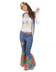 Hippie-Damenkostüm Flowerpower weiss-blau-bunt