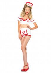 Sexy Krankenschwester Damenkostüm Dessous weiss-rot