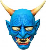Mythologischer Teufel Oni Latex-Maske blau