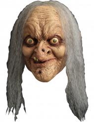 Bösartige Hexe Horror-Maske Zauberin grün-grau