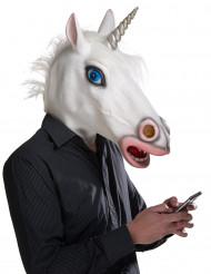 Lustige Maske Einhorn für Erwachsene weiss-silber