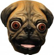 Lustige Maske kleiner Mops für Erwachsene braun-schwarz
