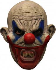 Wahnsinner Horrorclown 3/4 Latex-Maske haut-blau-rot