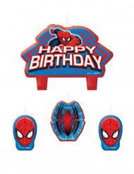 Geburtstags Kerzen Happy Birthday Lizenzartikel Spiderman 4 Stück rot-blau