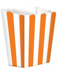 Retro Popcorn Süssigkeiten-Box Partydeko-Set 5 Stück weiss-orange