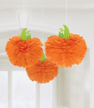 Kürbis-Waben Halloween Partydeko 3 Stück orange 40,5cm