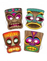 Tiki-Masken Hawaii-Mottoparty Accessoire 4 Stück bunt