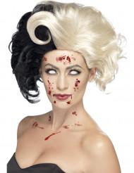 Gothic Zombie Kurzhaar-Perücke mit Tolle schwarz-blond
