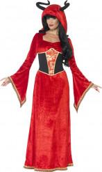 Höllen-Königin Halloween Kostüm für Damen rot-schwarz-gold