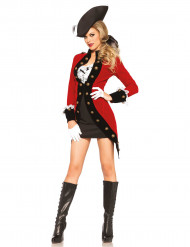 Noble Piraten-Kapitänin Damenkostüm Piratin rot-weiss