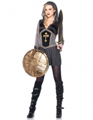 Mittelalter Kriegerin Damenkostüm Ritter schwarz-silber
