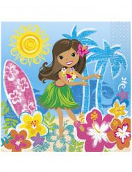 Hawaii Party-Servietten Tischdeko 16 Stück bunt 33x33cm