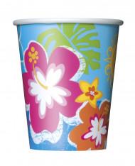 Hawaii Partybecher Tischdeko 8 Stück bunt 250ml
