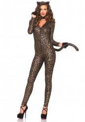 Sexy Wildkatze Catsuit Damenkostüm Leopard braun