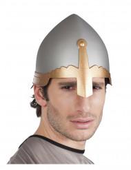 Ritterhelm Mittelalter für Erwachsene grau-gold