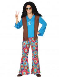Hippie Kostüm 60er Jahre hellblau-bunt
