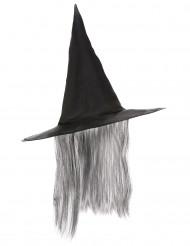 Hexen-Hut mit Haaren Hexenaccessoire schwarz-grau