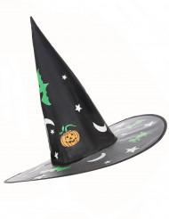 Nachtleuchtender Hexenhut Hexenkostüm-Accessoire schwarz-bunt