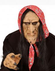Märchenhexen-Maske mit Kopftuch hautfarben-schwarz-rot