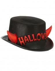 Halloween-Zylinder mit Hörnern rot