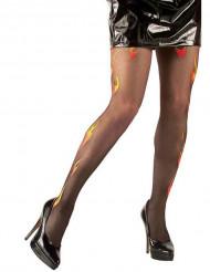 Strumpfhose Glitter Flammen schwarz-gelb-orange