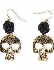 Gothic Ohrringe Totenkopf mit Rose gold-schwarz