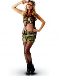 Heisse Soldatin Damenkostüm Camouflage grün-braun