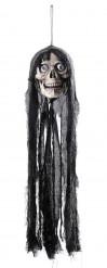 Sprechender Totenschädel mit Fetzenhaube Halloween Hänge-Deko grau-schwarz 70cm