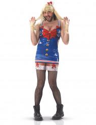 Lustiges Matrosinnen-Kostüm für Männer, blau-rot