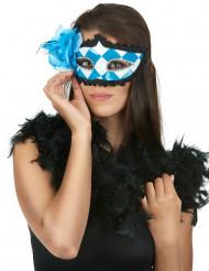 Karierte Oktoberfest-Maske blau-weiss