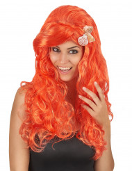 Wellige Meerjungfrau Damen-Perücke Muscheln orange