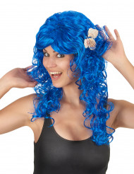 Meerjungfrau Locken-Perücke für Damen blau