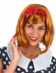 50er-Jahre Damenperücke 50er-Frisur mi Haarband orange-rot