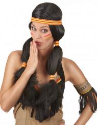 Indianerin Damen-Perücke Zöpfe schwarz