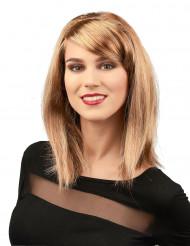 Schulterlange Damenperücke glatt blond-karamell