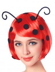 Marienkäfer Bob-Perücke mit Fühlern rot-schwarz