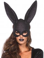 Verruchter Bunny Hasen-Maske Glitter schwarz