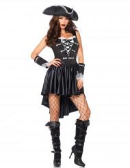 Dunkle Piratin Damenkostüm schwarz-weiss
