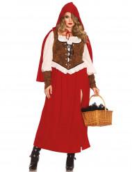 Rotkäppchen Märchen Damenkostüm Plus Size rot-weiss-braun