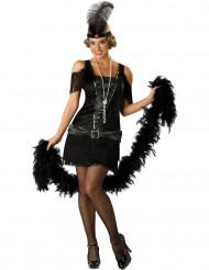 Stilechtes Zwanziger Jahre Deluxe Charleston Damenkostüm schwarz