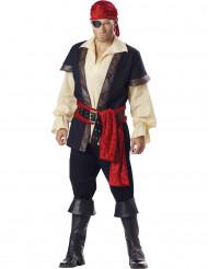 Realistisches Piraten Herrenkostüm Deluxe creme-schwarz-rot