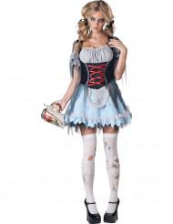 Bayerisches Zombie-Dirndl Halloween Damenkostüm blau-weiss